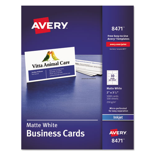 superwarehouse avery dennison inkjet business cards avery 8471. Black Bedroom Furniture Sets. Home Design Ideas