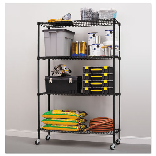complete wire shelving unit w caster four shelf 48 x 18. Black Bedroom Furniture Sets. Home Design Ideas