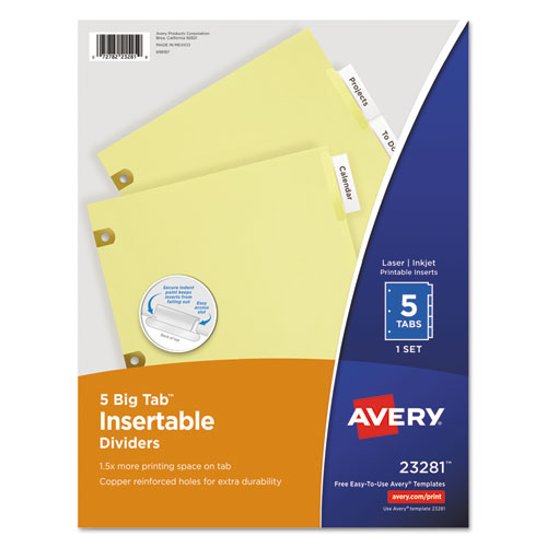 insertable big tab dividers 5 tab letter ave23281