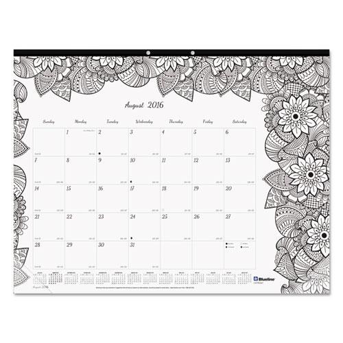 academic doodleplan desk pad calendar w  coloring pages  22 x 17  2018-2019