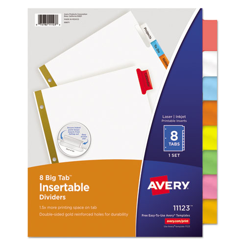 Superwarehouse insertable big tab dividers 8 tab for Avery big tab inserts for dividers 8 tab template