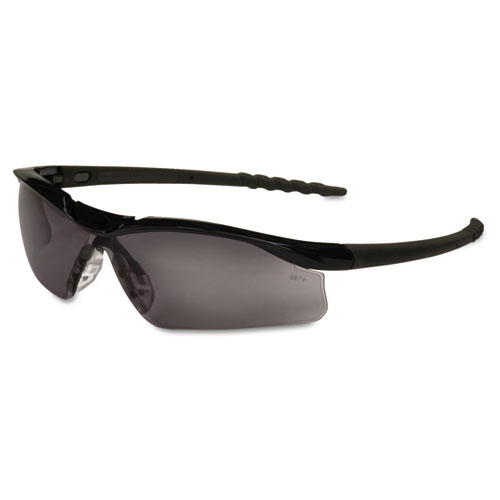 Crews Dallas Wraparound Safety Glasses, Black Frame, Gray Lens