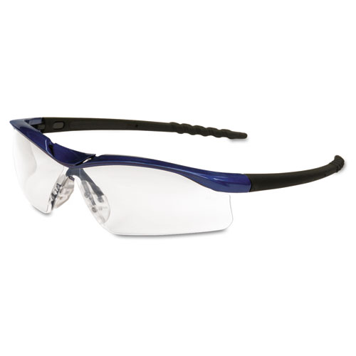 Crews Dallas Wraparound Safety Glasses, Metallic Blue Frame, Clear AntiFog L