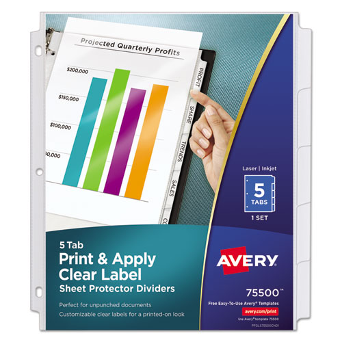 Index maker print apply clear label sheet protector for Avery easy apply 5 tab template