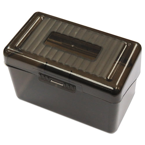 plastic index card boxes 4 x 6 translucent black universal