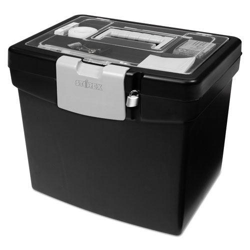 Portable File Box With Large Organizer Lid 13 1 4 X 10 7 8 11 Black