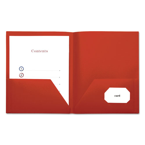 two pocket plastic folders 11 x 8 1 2 red 10 pack universal