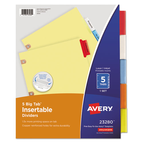 Insertable Big Tab Dividers 5 Tab Letter Lighthouse Office Supply