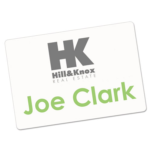 printable adhesive name badges 2 1 3 x 3 3 8 white 100 pack