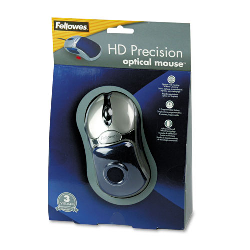 Fellowes Optical HD Precision Gel Mouse, Five-Button/Scroll, Blue/Silver at Sears.com