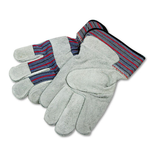 BWK1851 Boardwalk Men's Gunn Gloves With Leather Palm, Large, Gray/Multi, 12 Pairs