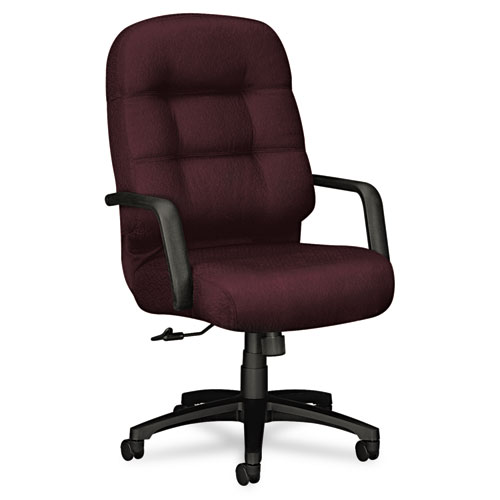 HON 2090 Pillow-Soft Executive High-Back Swivel/Tilt Chair, Wine Fabric/Bl