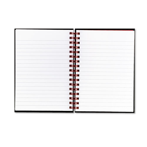 JDKL67000 Black N' Red Twinwire Hardcover Notebook, Legal Rule, 5-7/8 X 8-1/4, White, 70 Sheets