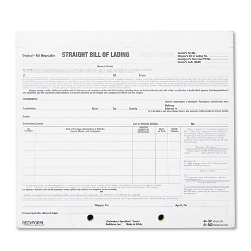 Bill Of Lading Short Form, 7 X 8 1/2, Four Part Carbonless, 250 Forms  Printable Bill Of Lading Short Form