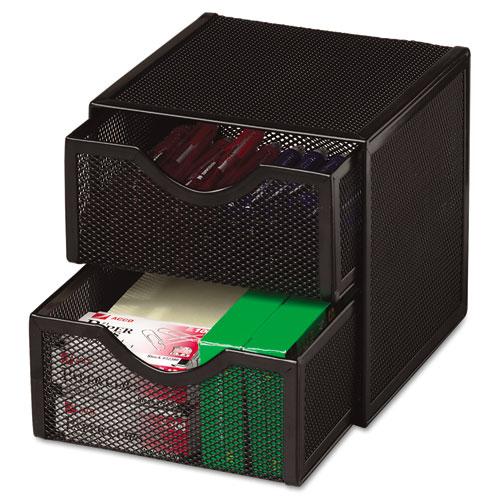 Organization Two Drawer Cube Wire Mesh Storage 6 X 6 X