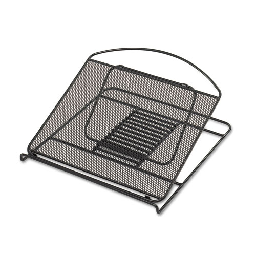 SAF2161BL Safco Onyx Adjustable Steel Mesh Laptop Stand, 12 1\/4 X 12 1\/4 X 1, Black