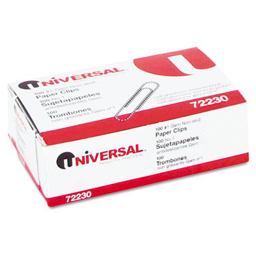 UNV72230BX Universal Nonskid Paper Clips Wire No 1 Silver 100Box