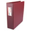 "UNV35416 - Suede Finish Vinyl Round Ring Binder With Label Holder, 3"" Capacity, Maroon"