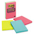 MMM6603SSUC - Super Sticky Jewel Pop Notes, 4 x 6, Lined, 3 90-Sheet Pads per Pack