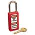 "Lightweight Zenex Safety Lockout Padlock, 1 1/2"" Wide, Red, 2 Keys, 6/Box"