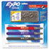 SAN1751668 - Click Dry Erase Marker Starter Set, Eraser/Wipes/Markers, Fine, Assorted, 3/Set