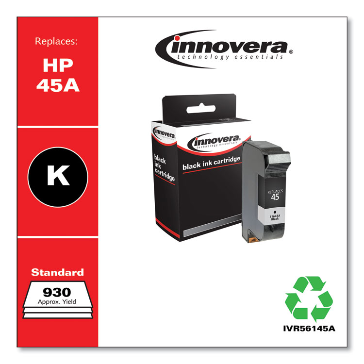 Innovera remanufactured alternative for HP 51645A (HP 45) Black Inkjet Cartridge
