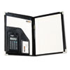 Victor® Pad Holder w/Calculator, Vinyl/Pewter Corners, File Slots, Writing Pad, Black