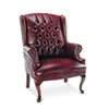 Alera® Traditional Series Wing-Back Arm Chair, Mahogany Finish/Oxblood Vinyl