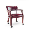 Alera® Traditional Series Guest Arm Chair w/Casters, Mahogany Finish/Oxblood Vinyl