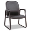 Alera® Genaro Guest Chair, Black Leather, Sled Base