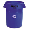 Brute Recycling Container, Round, Plastic, 32gal, Blue