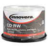 Innovera® CD-RW Discs, Rewritable, 700MB/80min, 12x, Spindle, Silver, 50/Pack