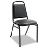 Alera® Upholstered Stacking Chairs w/Square Back, Black Vinyl, Black Frame, 4/Carton