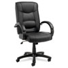 Alera® Strada Series High-Back Swivel/Tilt Chair, Black Leather Upholstery