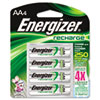 Energizer e NiMH Rechargeable Batteries, AA, 4 Batteries/Pack