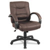Alera® Strada Series Mid-Back Swivel/Tilt Chair w/Brown Leather Upholstery