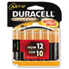 Duracell CopperTop Alkaline Batteries with Duralock Power Preserve Technology, AA, 12/Pk