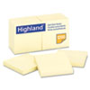 Highland™ Self-Stick Pads, 3 x 3, Yellow, 100 Sheets/Pad, 12 Pads/Pack