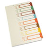 S J Paper Table of Contents Index Dividers, 1-8, Multicolor, 14 x 8-1/2