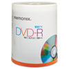 Memorex® DVD-R Discs, 4.7GB, 16x, Spindle, Silver, 100/Pack