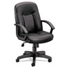 basyx® VL601 Leather Mid-Back Swivel/Tilt Chair, Metal, 26w x 33-1/2d x 43h, Black