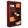 Alera® Square Corner Wood Veneer Bookcase, Five-Shelf, 35.63