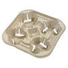 Chinet® StrongHolder Molded Fiber Cup Tray, 8-22oz, Four Cups, 300/Carton