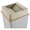 Rubbermaid® Commercial Untouchable Square Swing Top Lid, Plastic, 20 1/8 x 20 1/8 x 6 1/4, Beige