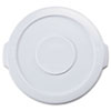 "Round Flat Top Lid, for 10-Gallon Round Brute Containers, 16"", dia., White"
