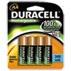 Duracell® Rechargeable NiMH Batteries with Duralock Power Preserve Technology, AA, 4/Pack