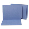 S J Paper Water/Paper Cut-Resistant Folders, Straight Tab, Letter, Blue, 100/Box