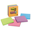 Post-it® Notes Super Sticky Note Pads in Electric Glow Colors, 4 x 4, Lined, Assorted, 6 90-Sheet Pads/Pack