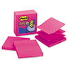 Post-it® Pop-up Notes Super Sticky Pop-Up Refills, 4 x 4, Lined, Fuchsia, 5 90-Sheet Pads/Pack
