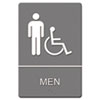 Headline® Sign ADA Sign, Men Restroom Wheelchair Accessible Symbol, Molded Plastic, 6 x 9, Gray